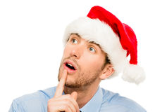 Closeup of caucasian man wearing christmas hat for santa isolate Royalty Free Stock Image