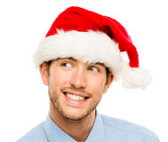 Closeup of caucasian man wearing christmas hat for santa isolate Stock Photography