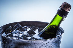 Closeup of celebration of cold champagne Royalty Free Stock Photo