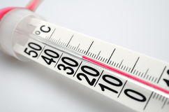 Closeup of celsius thermometer. Small DOF Stock Images