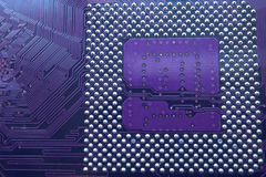 Closeup of central processor unit socket on motherboard Royalty Free Stock Images