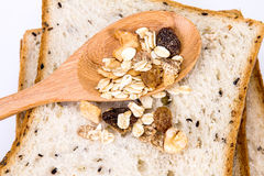 Closeup cereal and black sesame bread with whole grain cereal fl Royalty Free Stock Image