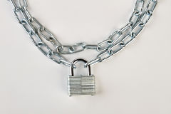 Closeup of chain with lock. Royalty Free Stock Photography