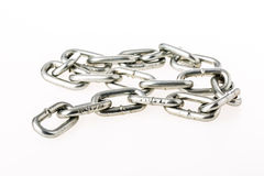 Closeup  chain  on white background Royalty Free Stock Photos
