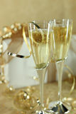 Closeup of Champagne Flutes Royalty Free Stock Photography