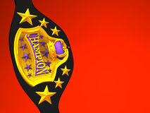 Closeup Of Champion Belt On Red Text Space. 3D render illustration Stock Photo