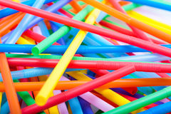 Closeup of Chaotic pile of cocktail straws Royalty Free Stock Image
