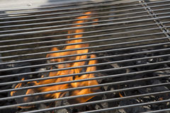 Closeup of a charcoal grill. Closeup of the fire in a charcoal grill Stock Images