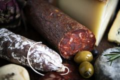 Closeup of charcuterie meat products royalty free stock photos