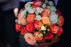 Closeup of charming wedding bouquet made of pink and white roses.  Stock Images