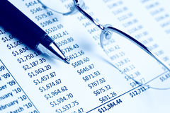 Closeup of a chart. With pen & glasses Royalty Free Stock Image
