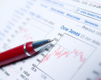 Closeup of a chart with a pen Royalty Free Stock Image