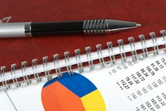 Closeup  of a chart with a pen Royalty Free Stock Photo