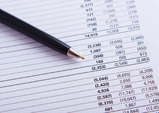 Closeup of a chart with pen. Background Stock Photo