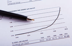 Closeup of a chart with pen Stock Photography
