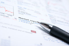 Closeup of a chart with a pen,mark on document Stock Photography