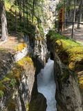 A closeup of a chasm in maligne canyon in Jasper National Park,. Alberta, Canada Stock Images