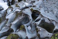 Closeup of Chasm rocks in Fiordland National Park, New Zealand. Stock Photo