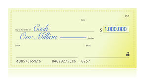 Closeup of Check Made Out for One Million Dollars Stock Images