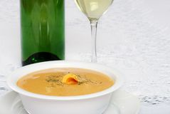 Closeup cheddar cheese soup Stock Photo