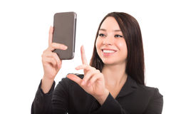 Closeup of cheerful businesswoman Royalty Free Stock Image