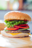 Closeup of a cheese burger Royalty Free Stock Photography