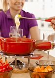 Closeup cheese fondue Stock Images