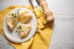 Closeup of cheese pie. Hot georgian saburani pie with cheese royalty free stock photos