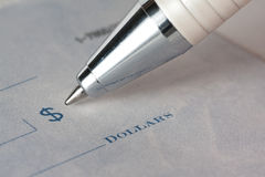 Closeup of a cheque Royalty Free Stock Images