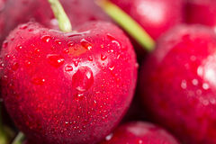 Closeup cherries. Red cherries with drop of water Royalty Free Stock Photography