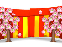 Closeup Of Cherry Blossoms And Red-Gold Curtains On White Background Royalty Free Stock Photos