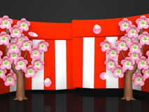 Closeup Of Cherry Blossoms And Red-White Curtains On Black Background Royalty Free Stock Images