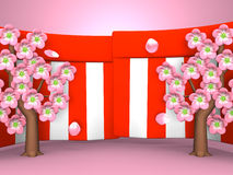 Closeup Of Cherry Blossoms And Red-White Curtains On Pink Background Royalty Free Stock Image