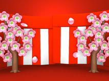 Closeup Of Cherry Blossoms And Red-White Curtains On Red Background Stock Photo