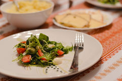 Closeup on Cherry tomato and mozzarella salad on plate Royalty Free Stock Images