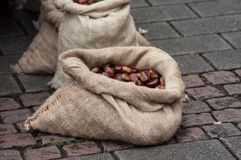 Chestnuts in hessian bags at the market. Closeup of chestnuts in hessian bags at the market royalty free stock images