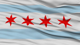 Closeup of Chicago City Flag. Waving in the Wind, Illinois State, United States of America Stock Image