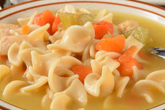Closeup of chicken noodle soup Royalty Free Stock Photos