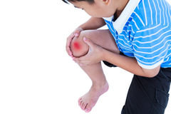 Closeup of child injured at knee. Isolated on white background. Child injured. Closeup of asian child injured at knee with copy space on left. Sad boy looking Stock Images