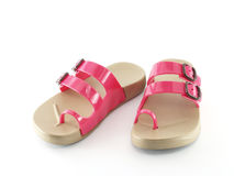 Close up pink and brown children's flip flop sandals Royalty Free Stock Photography