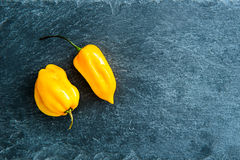 Closeup on chili peppers on stone substrate Royalty Free Stock Images