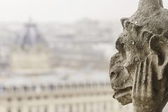 Closeup of a chimera of the Notre-Dame of Paris cathedral Franc Royalty Free Stock Photo