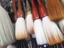 Closeup of Chinese calligraphy brushes. Royalty Free Stock Photos