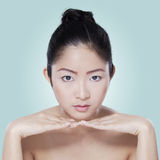 Closeup of chinese girl with soft skin Stock Images