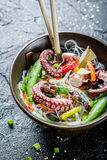 Closeup of chinese mix vegetables with octopus Royalty Free Stock Images