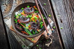 Closeup of chinese mix vegetables with octopus Stock Photos