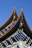 Closeup of Chinese temple eaves Royalty Free Stock Photos