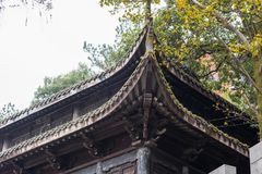 Closeup of Chinese temple eaves. Temple eaves of Nanchang monastery, part of complex of Stock Image