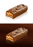 Closeup of chocolate bar with clipping path. Chocolate can be used in packaging consisting of photos and illustrations snickers manipulation. In addition, the Royalty Free Stock Photography