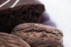 Closeup of chocolate cake and ice cream with grapes Stock Photo